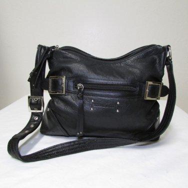 Stone & Co. Vintage Black Leather Shoulder Bag Medium Size