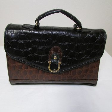 Vintage Brown And Black Envelope Style Alligator Print Small Purse