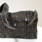 Vintage Liz Claiborne Black With Brown And Gold Fabric Shoulder Handbag Sz S