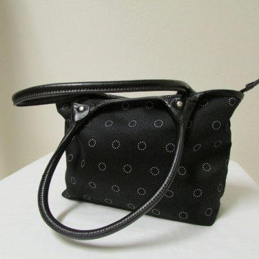 Thirty-One Gifts Brand Black With White Lotsa Dots Shoulder Bag