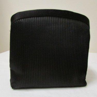 Black Satin 3 Section Small Evening Bag