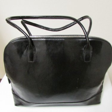 Franklin Covey Black Leather Large Briefcase Laptop Bag