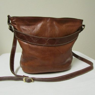 Two Toned Brown Leather Crossbody Shoulder Handbag By Chance Encounters