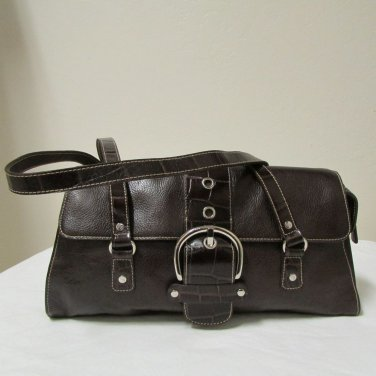 Franco Sarto Double Strap Brown Leather Shoulder Handbag