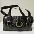 Beautiful Stylish Apt 9 Black Leather Handbag With Silver Tone Hardware