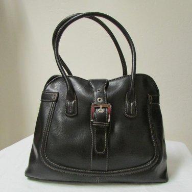 Jones New York Faux Black Leather Shoulder Bag