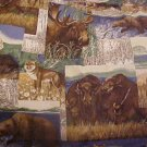 Cranston VIP Western Wildlife Cotton Fabric - 3/4 yd - Buffalo Wolf Bear Moose
