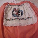 Handmade Pink Half Apron with Pigs & Flowers Towel Attached