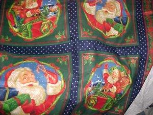 SANTA CLAUS Colorful Christmas Craft Squares - 1 yd