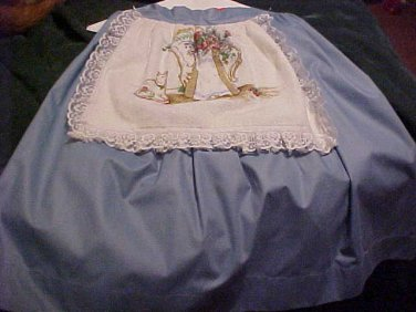 Handmade Blue Half Apron with Vase of Flowers Towel Attached
