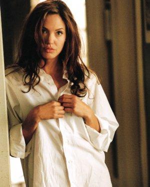 ANGELINA JOLIE -  WHITE SHIRT  8 X 10 - GLOSSY PHOTO PRINT