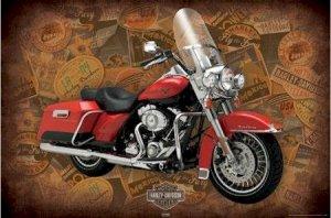 """Harley Davidson - Road King Logos  - 24'' x 36""""  Motorcycle Poster"""