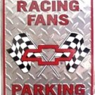 Chevy Racing Chrome Diamond Parking Only Novelty Embossed Metal Parking Sign
