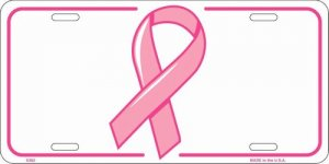 Breast Cancer Awareness Ribbon Metal Novelty License Plate Tag Sign