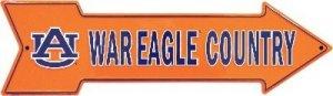 NCAA University of Auburn AU Tigers War Eagle Country Embossed Metal Arrow Sign
