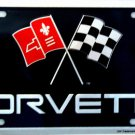 Chevrolet Corvette Flag Emblem Novelty Metal License Plate Tag Sign