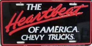 Heartbeat Chevy Trucks Embossed License Plate Metal Novelty License