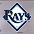 Tampa Bay Rays MLB Embossed Chrome Metal Novelty License Plate Tag Sign