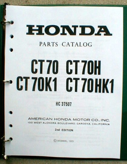 Honda CT70 Parts Manual CT70H & CT70K1 CT-70
