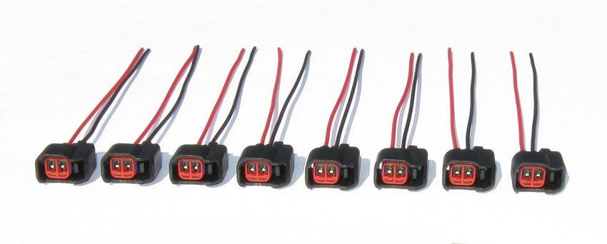 Set of 8 EV6 EV14 Fuel Injector Connectors pigtails Bosch Chevy LS2 LS3 Ford Dodge GM Nissan