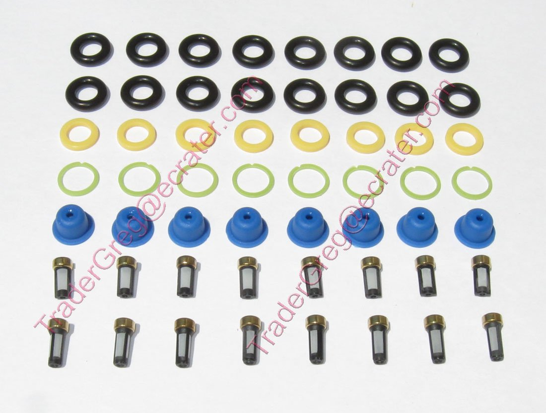 Ford 4.6 & 5.4 Fuel Injector Service kit O�rings Pintle Caps Filter Baskets F-150 F-250 Expedition