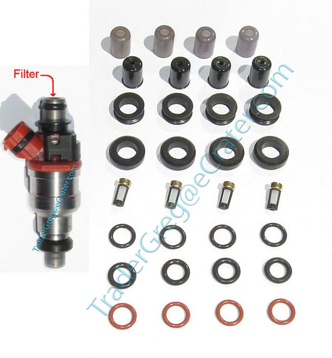 1986-1995 Toyota 22RE Fuel injector service kit - orings pintle caps micro basket filters & seals