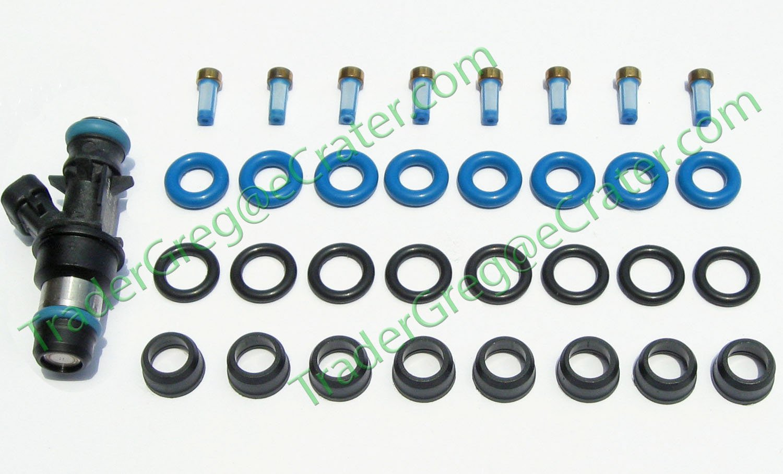 FUEL INJECTOR REPAIR KIT O-RINGS FILTERS PINTLE CAPS CHEVY GMC 4.8L 5.3L