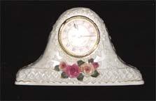 Ceramic Victorian Mantle Clock, Raised Rose Motif, circa 1960