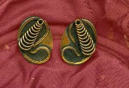 Copper Antique Clip-On Earrings, circa 1950