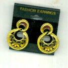 Gold Hoop Vintage Earrings, Pierced