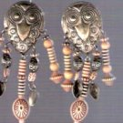 Vintage Tribal Silver Owl Earrings