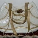 Large  Apple Bottoms White Gold Lace Up Purse