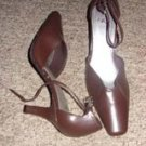 Chocolate Brown Leather Heels by Its Ok, Size 9
