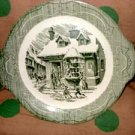 The Old Curiosity Shop green transferware Handled Cake Plate
