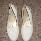 Calico White Ladies Flats, Size 8M