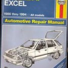 Haynes Hyundai Excell Automotiver Repair Manual 1986-1994