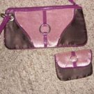 Vintage Pink Suede and Purple Silk Handbag set