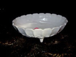 Indiana Garland Milkglass Footed Fruit Bowl