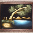 Original Black Velvet Landscape Painting unknown Artist