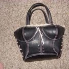 Black Leather and Lace Boltice Purse by Chateau