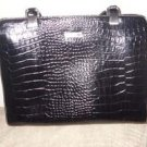 Large Liz Claiborne Black embossed Croc Purse
