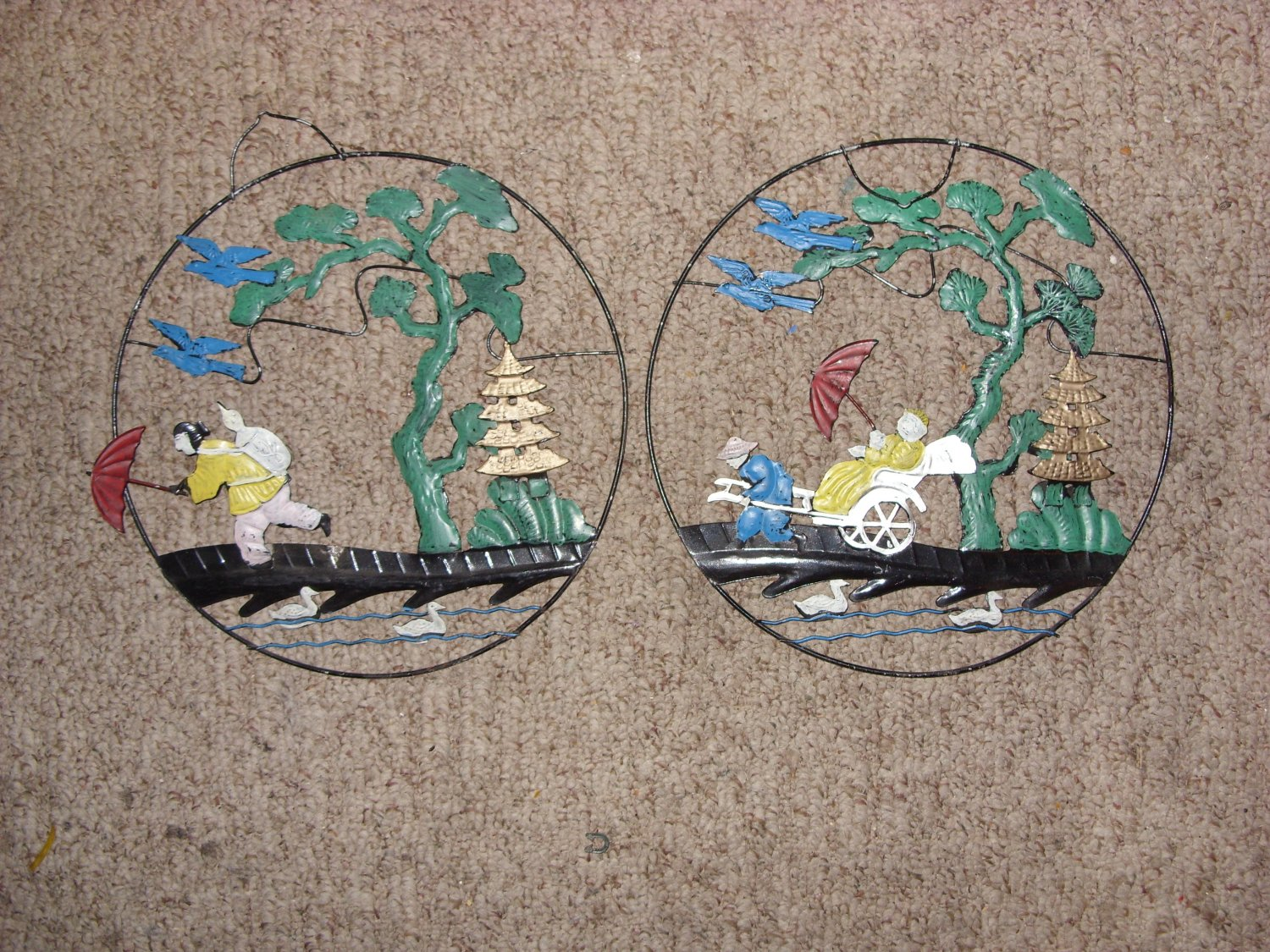 Antique Wire - Metal Japanese Wall Hangings, 1940's