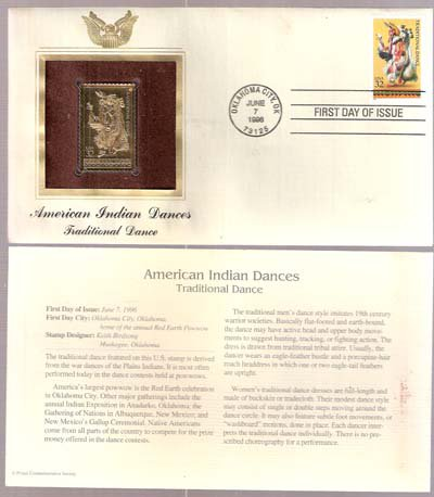 1996 First Day Issue 32-cent Traditional Dance Stamp & 22kt Gold Replica