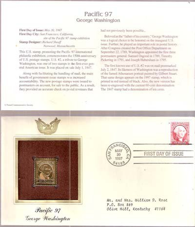 1997 First Day Issue 60-cent George Washington Stmp & 22kt Gold Replica