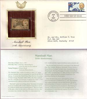 1997 First Day Issue 32-cent Marshall Plan Stamp & 22kt Gold Replica