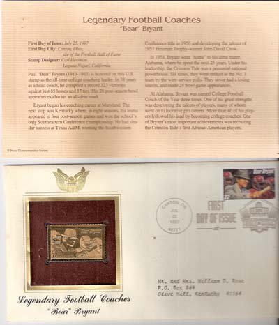1997 First Day Issue 32-cent Football Coach Bear Bryant Stamp & 22kt Gold Replica