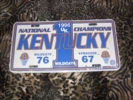 Kentucky Wildcats National Champ License Plate, 1996