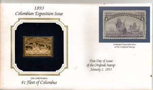 1893 Regular Issue 4-cent Columbian Exposition Issue 22kt Gold Replica Stamp