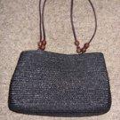 Black Textured Weave Handbag by Kim Rogers