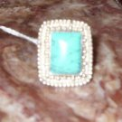 Square Turquoise Silver Ring, Size 7